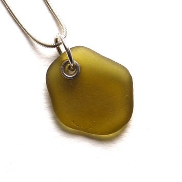 Sea Glass Necklace Golden Brown with a hint of Green  LOLA
