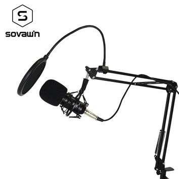 Metal Computer Capacitive Professional KTV Microphone BM 800 PC 3.5mm Condenser Audio Studio Vocal Recording Mic Karaoke + Stand