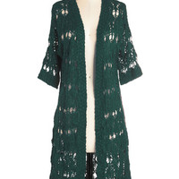 ModCloth Short Sleeves Bliss and Tell Cardigan in Evergreen