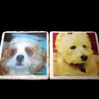 Custom Photo Coasters, 4 Stone Coasters, Resin Finish, Gift under 40