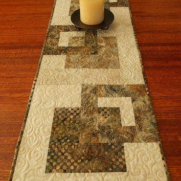 Batik Table Runner in Neutral Shades of Brown and Grey - Quilted Table Runner  - Modern Table Quilt - Quilted Table Mat - Batik Wall Hanging
