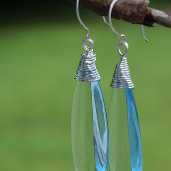 Earrings, Fashion Jewelry, Artisan Jewelry, Wire Wrapped Dangle Earrings, Light Blue Earrings, Blue Dangle Earrings, Handcrafted Earrings