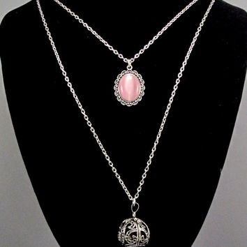 Aromatherapy Necklace - Beautiful Aromatherapy Locket and Pink Moonstone Pendant