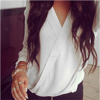 White V-Neck Wrapped Long Sleeve Chiffon Shirt