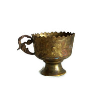 Cute Turkish coffee CUP HOLDER, etched vintage brass, serrated rim. Ornate metal etching, Oriental home bar decor, folk art, Middle Eastern