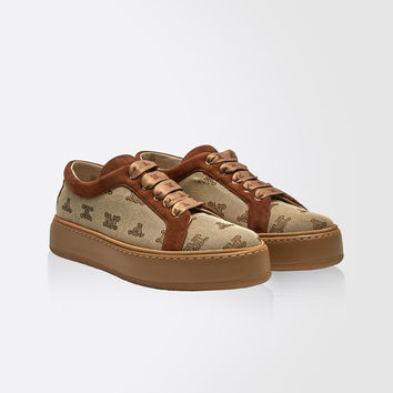 Fabric sneakers with logo, camel - MM90 Max Mara