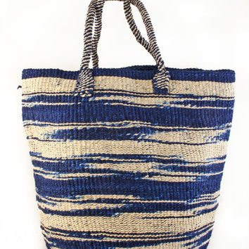 Large Hand Woven Blue Zebra Stripe Sisal Tote Bag