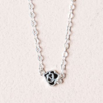Silver Rose Charm Necklace - Jewelry - Accessories