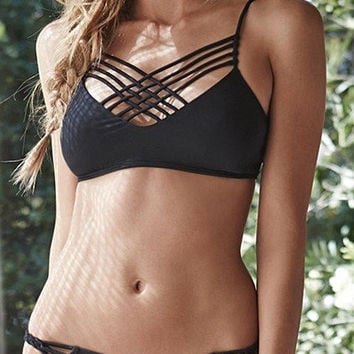Black Strappy Criss Cross Front Bralette Bikini Set