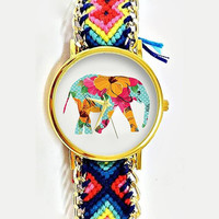 Elephant Watch, Friendship bracelet, Peruvian, Women Watches,Wrap Watch, Boyfriend Watch,Bracelet watch, Floral Hibiscus Polka Teal