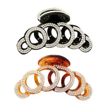 High Quality Large 6 Circles Crystal Hair Clips Girls Stones Hairpins Crab Claws Jaw Clamp Hair Jewelry for Women Black Brown