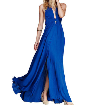 Blue Cotton Long Sexy Dress 2017 Summe Halter Backless Dresses Bohemian Beach Maxi Dresses V-neck Slim Boho Party Vestidos S-XL