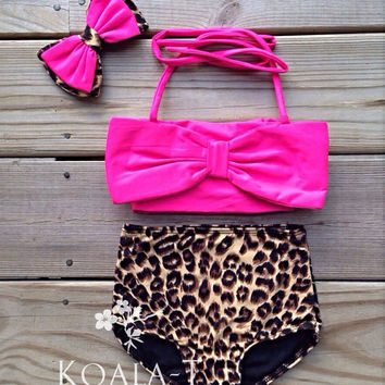 Hot Pink Bow Top & Leopard Print Swimwear (Kids Size)