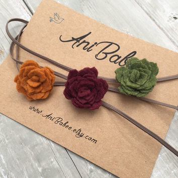 Fall Felt Flower Headband, Baby Headband Set, Red Flower Headband, Felt Flowers, Green Flower Headband, Infant headband set