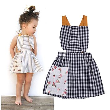 Newborn Toddler Baby Girls backless print dress summer Stripes strap sundress Bunny plaid kids baby Dresses