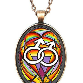 Gay Homosexual Mens Love Symbol Huge 30x40mm Antique Copper Pendant with Chain Necklace