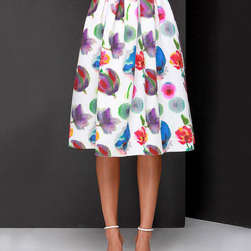 White Floral Printed Knee Length High Waist Pleated Skirt