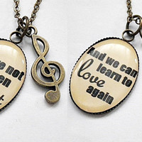 pair of personalized favorite theme song lyrics pendant necklace