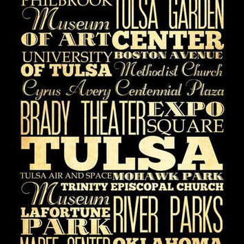 Tulsa, Oklahoma, Typography Art Poster / Bus  / Transit / Subway Roll Art 18X24 - Tulsa's Attractions Wall Art Decoration -  LHA-203