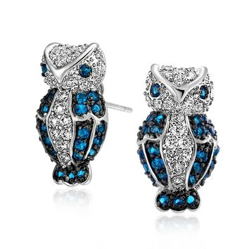 Blue White CZ Wise Owl Bird Stud Earrings Sapphire Silver Plated