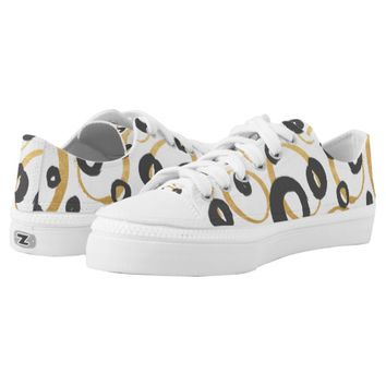 Chic Gold and Black Contemporary Circles Printed Shoes