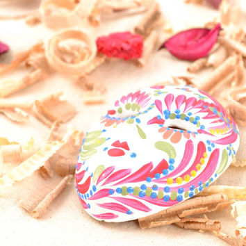 Interior handmade beautiful pendant masquerade Venetian carnival mask Summer