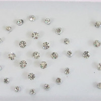 Energy Stars Silver Rhinestones Bindis In One Pack/ Indian India Bindi / Self Adhesive/ Fake Tragus Nose Stud/  Teen Bindis/ Bindi Stickers