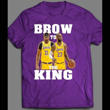 YOUTH SIZE ANTHONY DAVIS & LEBRON JAMES BROW TO THE KING BASKETBALL KIDS T-SHIRT