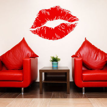 Wall Decals - Huge Sexy Lips Kiss Mark Wall Decor b2002