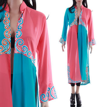 Color Block Tunic Sheer Duster Blouse Cardigan Ethnic Vintage Clothing Pink and Blue Long Blouse 70s 80s Vintage Womens Size Small