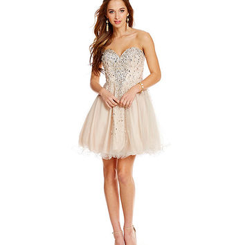 Glamour by Terani Couture Cascading Beads Short Party Dress | Dillards