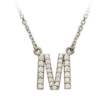 1/5 Cttw G-H, I1 Diamond initial Necklace in 14k White Gold, Letter M
