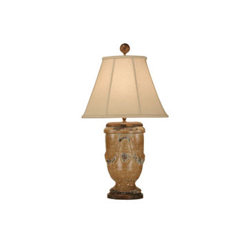 Zeugma Import ZG01S FR. TURQUOISE Pottery Lamp w/Linen Shade