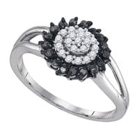 Black Diamond Fashion Ring in 10k White Gold 0.25 ctw