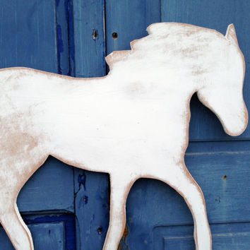 Horse Sign, White Horse Art sign, Indoor Outdoor Wood Sign