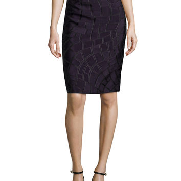 Textured Pencil Skirt, Iris, Size: 36, purple - Escada