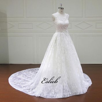 Elegant Flowers Lace Wedding Dress Appliques Vintage Bride dresses Wedding Dresses