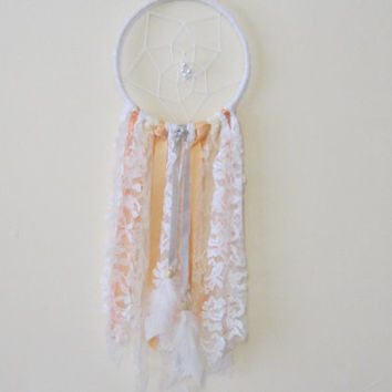 Peach/White/Cream/Silver/Coral Lace Boho Nursery Dreamcatcher, Boho Nursery Chic, Baby Shower Gift Idea