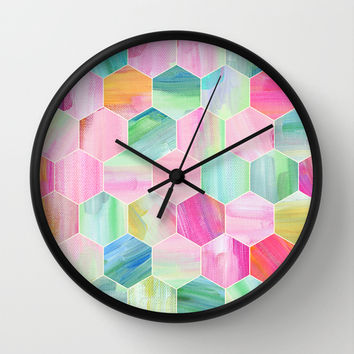 Pretty Pastel Hexagon Pattern in Oil Paint Wall Clock by Micklyn