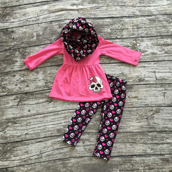 FALL/Winter OUTFITS 3 pieces scarf hot pink top skull pant sets girls
