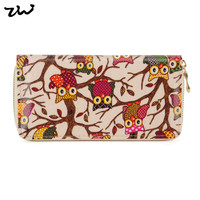 ZIWI Brand Fashion Animal Owl Long Wallet Oilcloth Card Holder Purse For women LBQ228