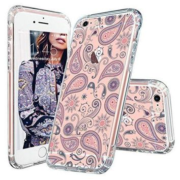 DCCKV2S iPhone 6 Case, iPhone 6s Case, MOSNOVO Paisley Floral Flower Clear Design Pattern Slim Transparent Plastic Hard with Soft TPU Bumper Protective Back Phone Case Cover for Apple iPhone 6 6s (4.7 Inch)