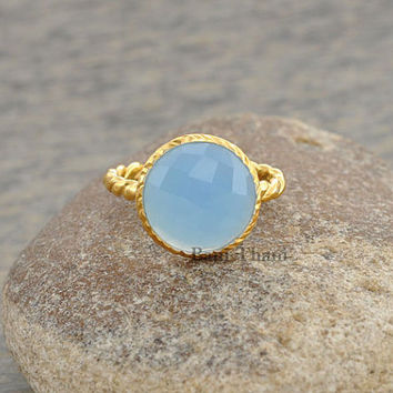 Blue Chalcedony Round 10mm Micron Gold Plated 925 Sterling Silver Ring, Twisted Ring Jewelry - #7500