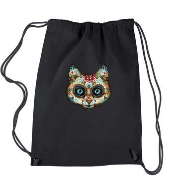 Cat Day Of The Dead Drawstring Backpack