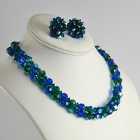 AB Necklace Choker Matching Earrings, 2 Strand Blue Green Aurora Borealis, Clip On , Vintage VTG Demi Parure, Evening Party Fashion Accent