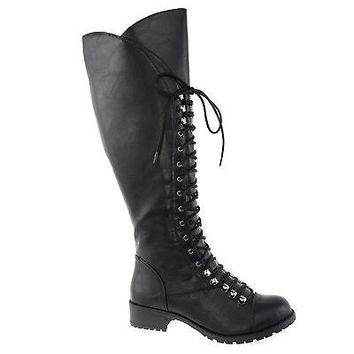 Water Cracked Vintage Military Combat Boots Lace Up Women Shoe Size