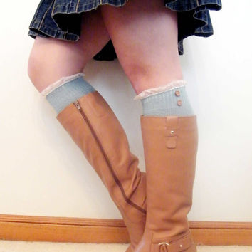 Over the knee Wool Boot Socks Womens lace Boot Socks- Lacy Women Boots Sock - Ready to Ship