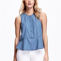 Chambray Peplum Tank for Women