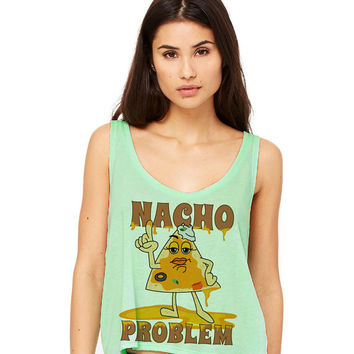 Mint Green Cropped Tank Top - Nacho Problem - Summer Outfit Spring Food Pun Funny