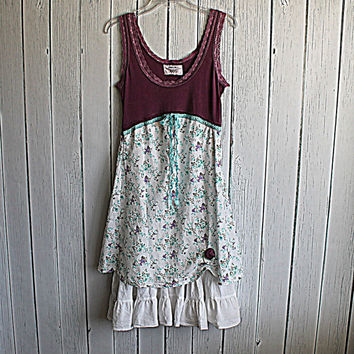 Women's Baby Doll Dress Upcycled Retro Frock